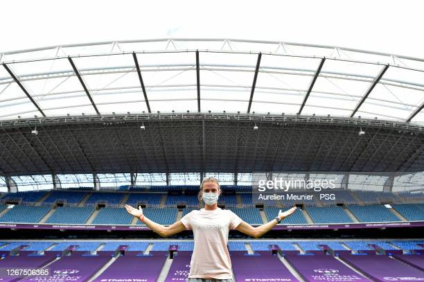 Irene Paredes reacts as Paris Saint-Germain visit Estadio Anoeta ahead of their UEFA Women's Champions League quarter final match against Arsenal FC...