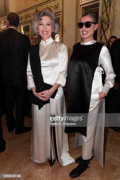 Irene Pivetti and a guest attend the Prima Alla Scala at Teatro Alla Scala on December 7 2018 in Milan Italy