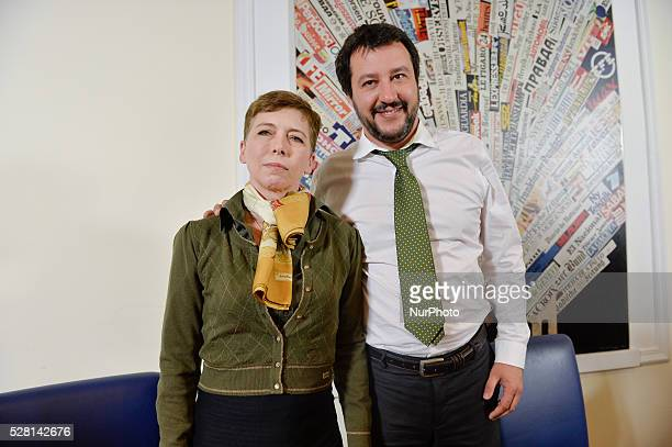 Irene Pivetti and Matteo Salvini during the presentation of his autobiographical boot at Foreign Press Office in Rome on May 04 2016