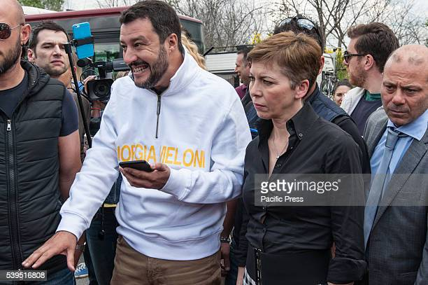 Irene Pivetti and Matteo Salvini during their visit at Nomad Camp The Northern League leader on a visit to the gypsy camp in the Magliana district of...