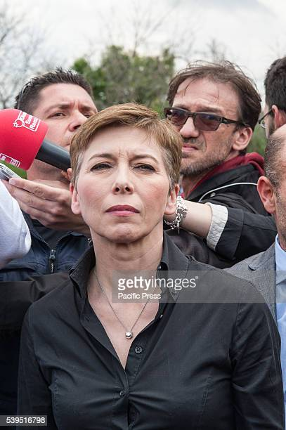 Irene Pivetti during visit at Nomad Camp The Northern League leader on a visit to the gypsy camp in the Magliana district of Rome with Gorgia Meloni...