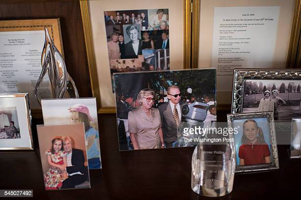 Irene Pollin widow of former Caps and Wizards owner Abe Pollin shows off old photos of her and her husband at her home in Bethesda MD on Wednesday...