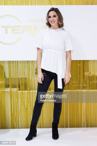 Irene Rosales attends 'Salon Look' at IFEMA to present the Termix hair straightener on November 3 2017 in Madrid Spain