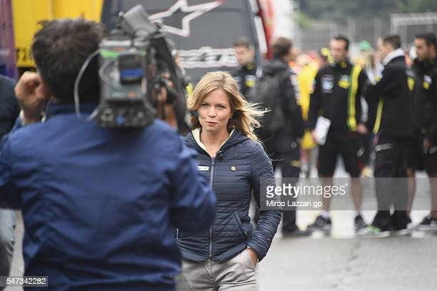 Irene Saderini of Italy makes an interview in paddock during the MotoGp of Germany Preview at Sachsenring Circuit on July 14 2016 in...