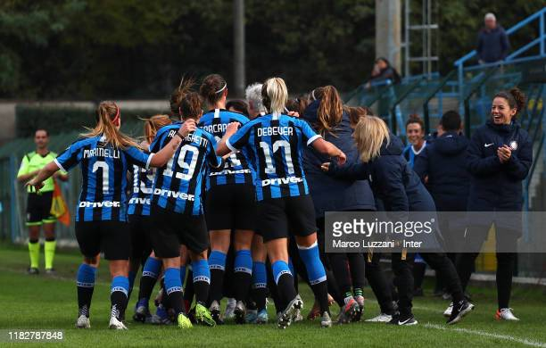 Irene Santi of FC Internazionale celebrates her goal with her teammates during the Women Serie A match between FC Internazionale and Orobica at Campo...