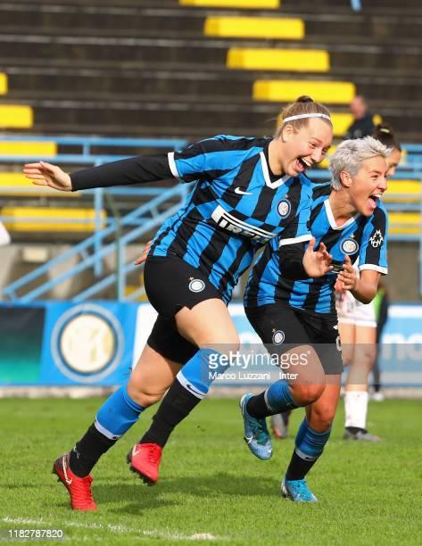 Irene Santi of FC Internazionale scores her goal celebrates her goal with her teammate Stefania Tarenzi during the Women Serie A match between FC...