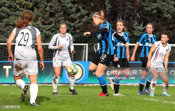 Irene Santi of FC Internazionale scores her goal during the Women Serie A match between FC Internazionale and Orobica at Campo Sportivo F Chinetti on...