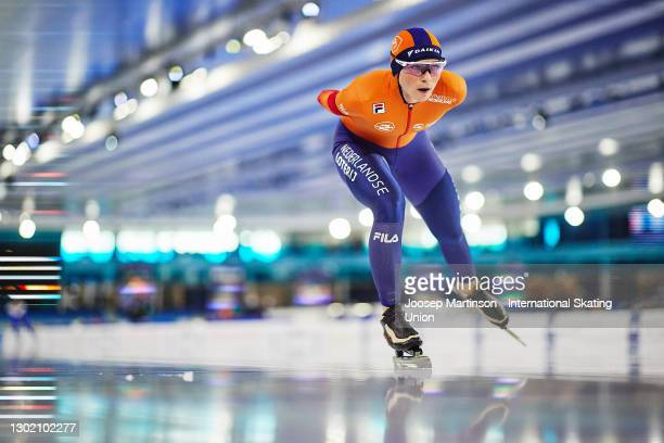 Irene Schouten of Netherlands competes in the Ladies 5000m during day 4 of the ISU World Speed Skating Championships at Thialf on February 14, 2021...