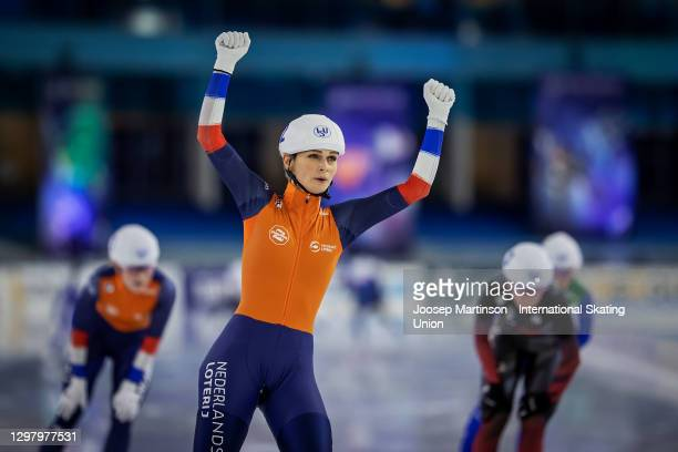 Irene Schouten of Netherlands competes in the Ladies Mass Start during day 2 of the ISU World Cup Speed Skating at Thialf on January 23, 2021 in...