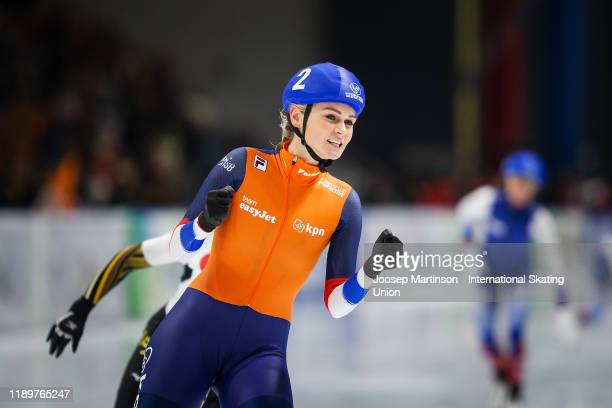 Irene Schouten of Netherlands reacts after winning in the Ladies Mass Start during ISU World Cup Speed Skating at Tomaszow Mazoviecki Ice Arena on...