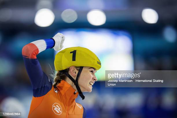 Irene Schouten of Netherlands reacts in the Ladies Mass Start finish during day 2 of the ISU World Cup Speed Skating at Thialf on January 30, 2021 in...