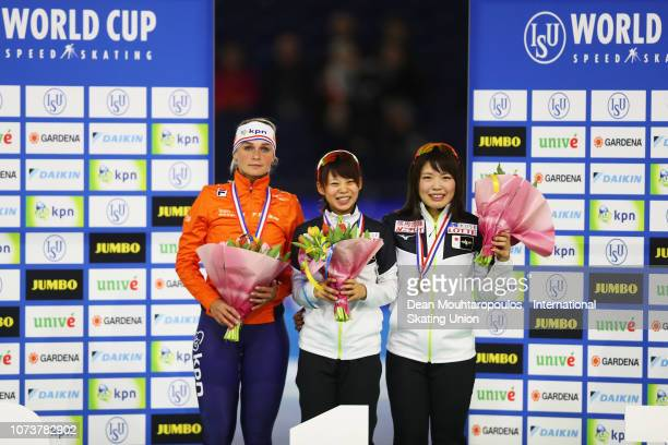 Irene Schouten of the Netherlands Nana Takagi of Japan and Ayano Sato of Japan pose with the medals after the Mass Start Ladies Final during the ISU...