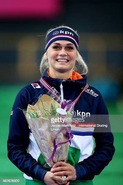 Irene Schouten of the Netherlands poses for a picture after winning the Women's Mass Start race on day 2 of the ISU Speed Skating World Cup at the...
