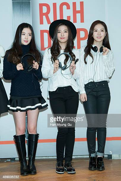 Irene Seulgi and Wendy of girl group Red Velvet pose for photographs at the launch event for new products of 'SHURE' on November 14 2014 in Seoul...