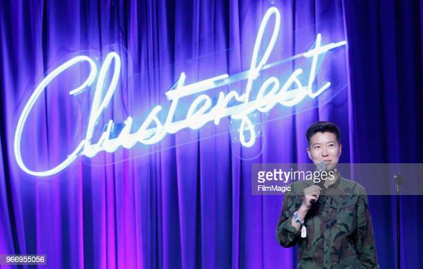 Irene Tu performs onstage in the Larkin Comedy Club during Clusterfest at Civic Center Plaza and The Bill Graham Civic Auditorium on June 3 2018 in...