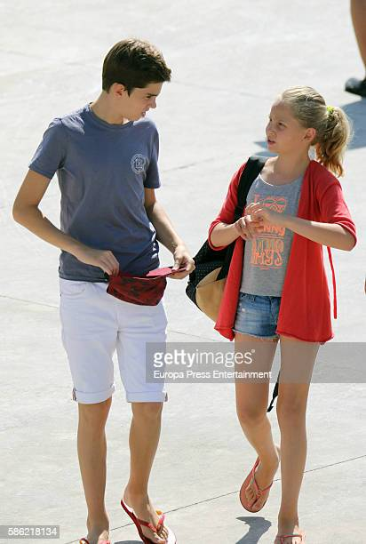 Irene Urdangarin and Pablo Nicolas Urdangarin are seen on on August 5 2016 in Palma de Mallorca Spain