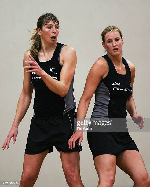 Irene van Dyk and Leana de Bruin of the New Zealand Silver Ferns work for position during a training session held at the AUT Akoranga Campus November...