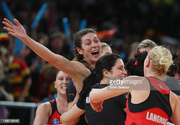 Irene van Dyk of the Magic celebrates after winning the ANZ Championship Grand Final match between the Melbourne Vixens and the Waikato Bay of Plenty...