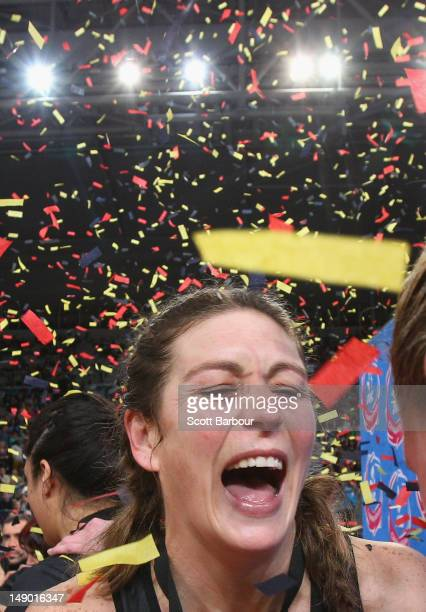 Irene van Dyk of the Magic reacts after winning the ANZ Championship Grand Final match between the Melbourne Vixens and the Waikato Bay of Plenty...