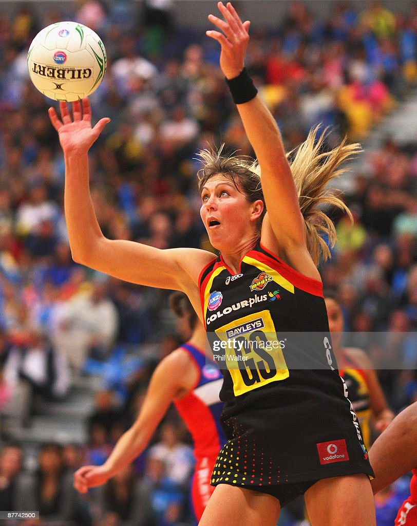 Irene van Dyk of the Magic takes a pass during the round seven ANZ Championship match between the Magic and the Mystics played at the Energy Events Centre on May 18, 2009 in Rotorua, New Zealand.