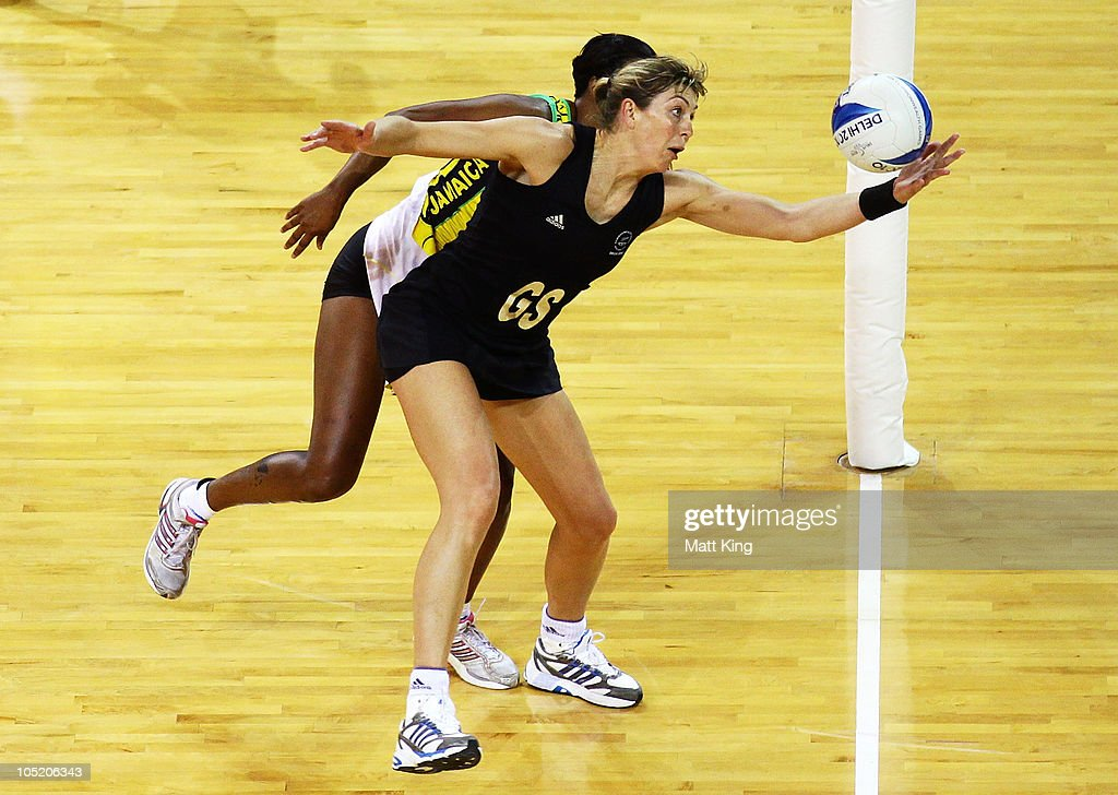 Irene van Dyke of New Zealand catches the ball during the Women Semifinals Match between New Zealand and Jamaica at the Thyagaraj Sports Complex during day nine of the 2010 Commonwealth Games on October 12, 2010 in Delhi, India.