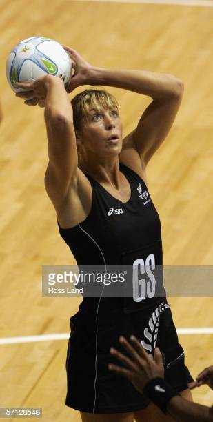 Irene Van Dyke of New Zealand in action during the netball match between New Zealand and Fiji on Day Four of the 18th Commonwealth Games at the State...