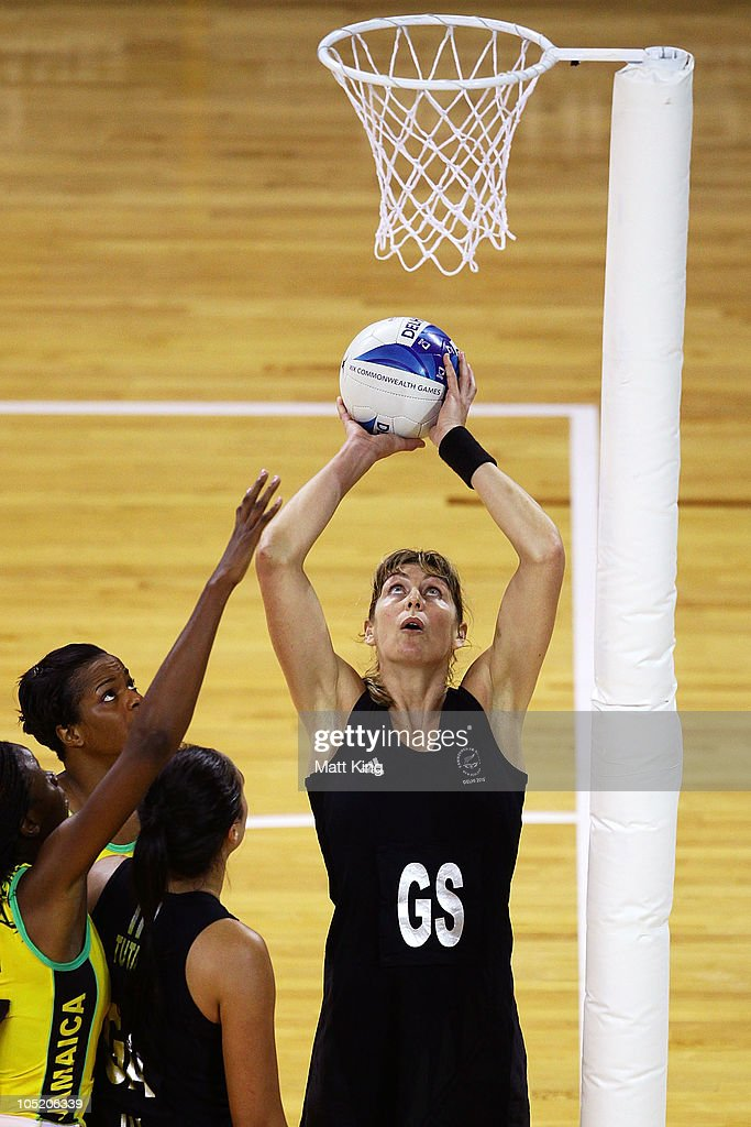 Irene van Dyke of New Zealand shoots during the Women Semifinals Match between New Zealand and Jamaica at the Thyagaraj Sports Complex during day nine of the 2010 Commonwealth Games on October 12, 2010 in Delhi, India.