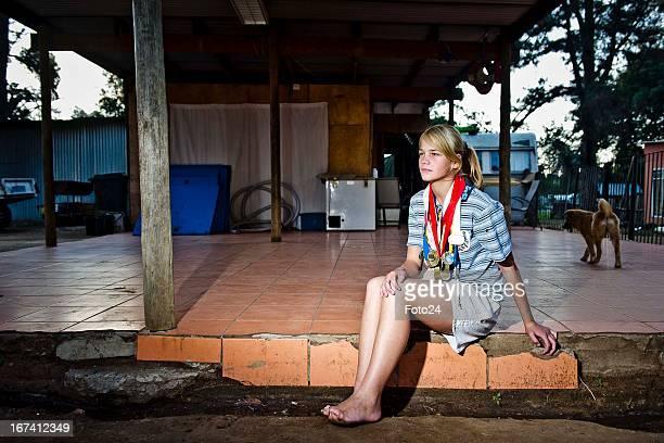 Irene van Niekerk at her home in the Coronation Park Caravan Park on April 24 in Johannesburg South Africa Despite having lost most of her toes when...