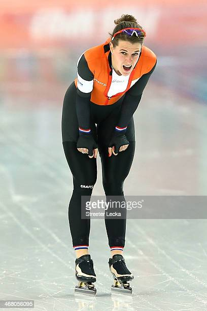Irene Wust of the Netherlands competes during the Women's 3000m Speed Skating event during day 2 of the Sochi 2014 Winter Olympics at Adler Arena...