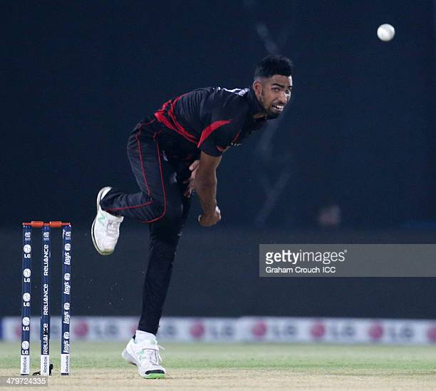 Irfan Ahmed of Hong Kong bowls during the Bangladesh v Hong Kong match at the ICC World Twenty20 Bangladesh 2014 played at Zahur Ahmed Chowdhury...