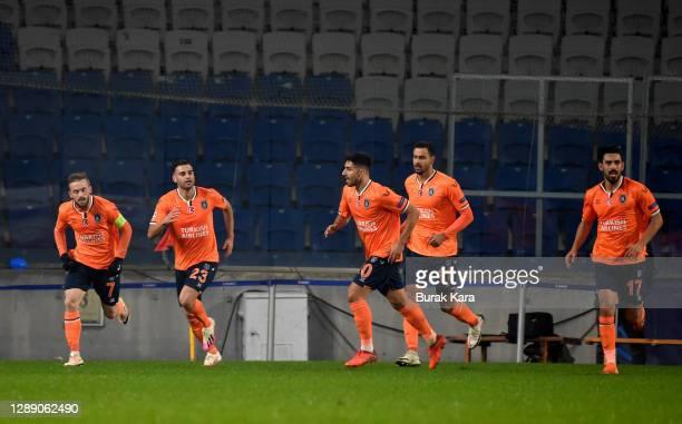 Irfan Can Kahveci of Istanbul Basaksehir FK celebrates with team mates Nacer Chadli, Berkay Ozcan, Deniz Turuc and Edin Visca after scoring their...