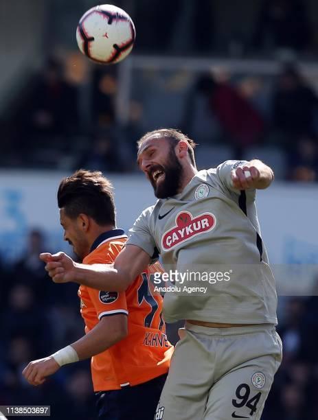 Irfan Can Kahveci of Medipol Basaksehir in action against Vedat Muriqi of Caykur Rizespor during Turkish Super Lig soccer match between Medipol...