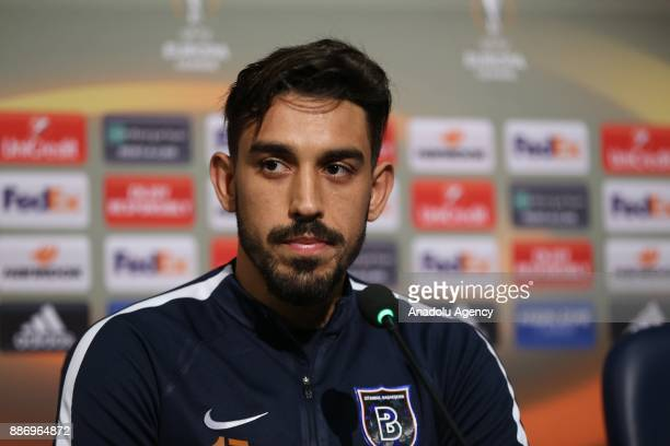 Irfan Can Kahveci of Medipol Basaksehir speaks during a press conference with Head coach of Medipol Basaksehir Abdullah Avci ahead of the UEFA Europa...