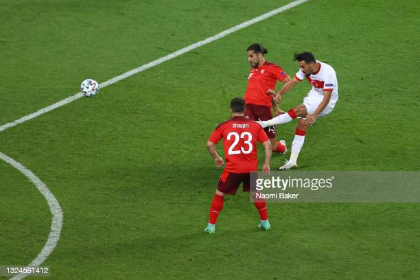 Irfan Can Kahveci of Turkey scores their side's first goal during the UEFA Euro 2020 Championship Group A match between Switzerland and Turkey at...