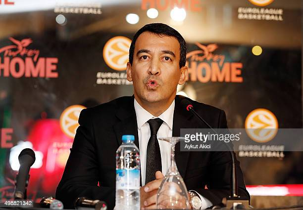 Irfan Onal answers questions from the media at press conference prior to the Turkish Airlines Euroleague Regular Season Round 7 game between...