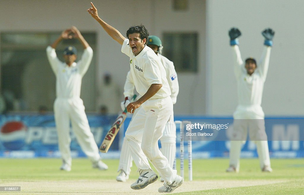 Irfan Pathan (C) of India appeals unsuccessfully for L.B.W during day 3 of the 1st Test Match between Pakistan and India at Multan Stadium on March 30, 2004 in Multan, Pakistan.