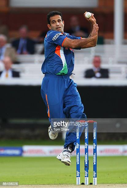 Irfan Pathan of India bowls during the ICC World Twenty20 Super Eights match between India and West Indies at Lord's on June 12 2009 in London England