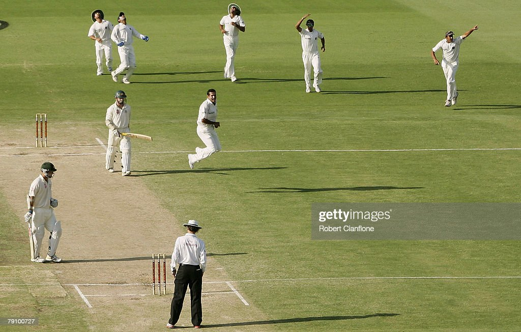 Irfan Pathan of India celebrates after taking the wicket of Chris Rogers during day three of the Third Test match between Australia and India at the WACA on January 18, 2008 in Perth, Australia.