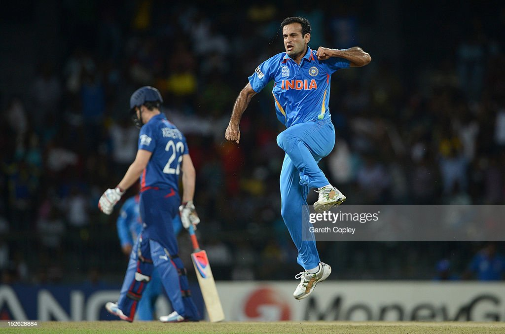 Irfan Pathan of India celebrates dismissing Alex Hales of England during the ICC World Twenty20 2012 Group A match between England and India at R. Premadasa Stadium on September 23, 2012 in Colombo, Sri Lanka.