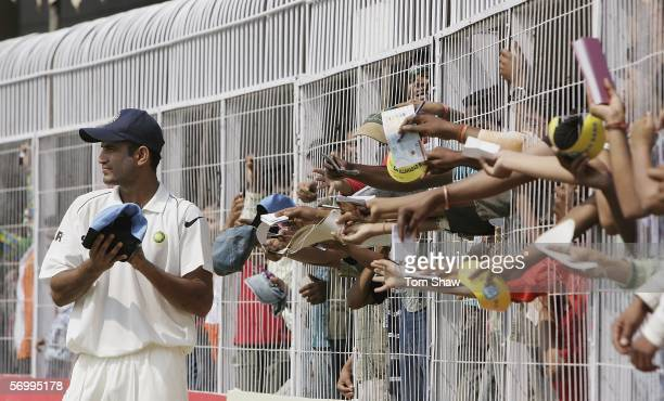 Irfan Pathan of India signs autographs during day four of the First Test between India and England at the VCA Stadium on March 4, 2006 in Nagpur,...