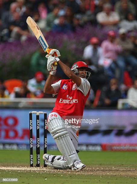 Irfan Pathan of Kings XI hits out during the IPL T20 match between Delhi Daredevils and Kings XI Punjab on April 19 2009 in Cape Town South Africa
