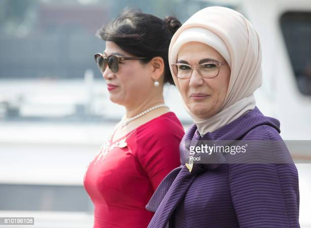 Iriana Joko Widodo wife of Joko Widodo President of the Republic of Indonesia and Emine Erdogan wife of Recep Tayyip Erdogan President of the...
