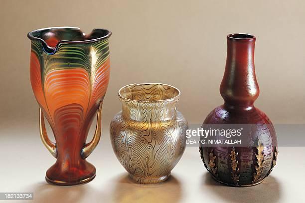 Iridescent glass vases, Loetz-Witwe glassworks, 1900-1909, 20th century. Vienna, Österreichisches Museum Für Angewandte Kunst