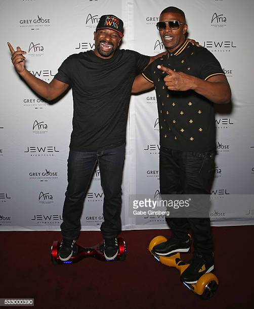 Irie and actor Jamie Foxx attend the grand opening of Jewel Nightclub at the Aria Resort Casino on May 19 2016 in Las Vegas Nevada