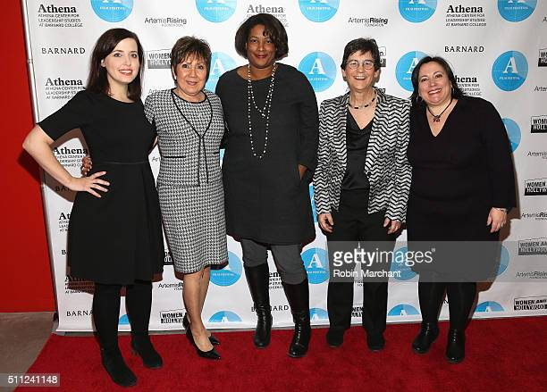 Irin Carmon Renee Chelian Dawn Porter Kathryn Kolbert and Melissa Silverstein attend The 6th Annual Athena Film Festival Opening Night at Barnard...