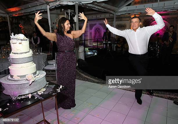 Irina Agalarova and Aras Agalarov attends New Years Eve And Birthday Party For Irina Agalarova at Barton G on December 31, 2014 in Miami Beach,...
