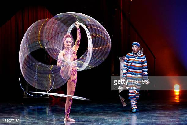 Irina Akimova performs the hoops manipulation act during the dress rehearsal for Kooza by Cirque Du Soleil at Royal Albert Hall on January 4 2015 in...