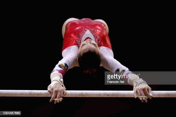 Irina Alekseeva of Russia competes in the Women's Uneven Bar Qualification during day four of the 2018 FIG Artistic Gymnastics Championships at...