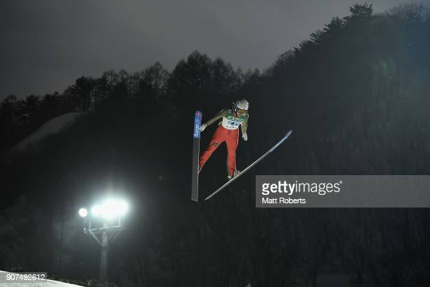 Irina Avvakumova of Russia competes in the Normal Hill Team during day three of the FIS Ski Jumping Women's World cup Zao at Kuraray Zao Schanze on...