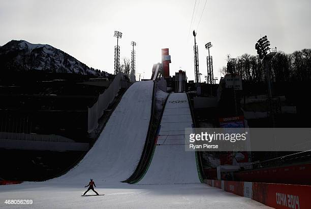 Irina Avvakumova of Russia completes her jump during the Ladies' Normal Hill Individual Ski Jumping training on day 2 of the Sochi 2014 Winter...